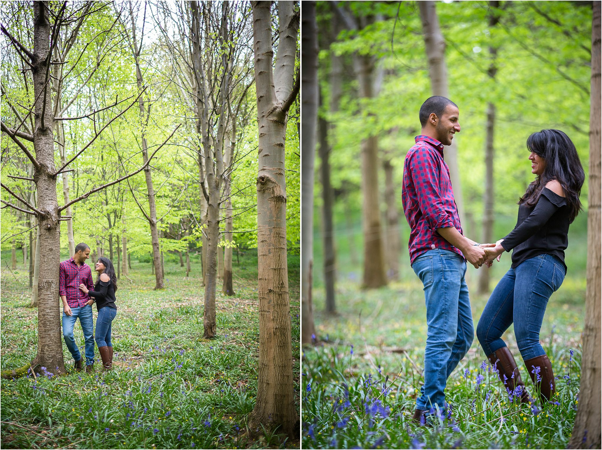 Two images side by side of a couple holding hands in woods at The Fish Hotel.
