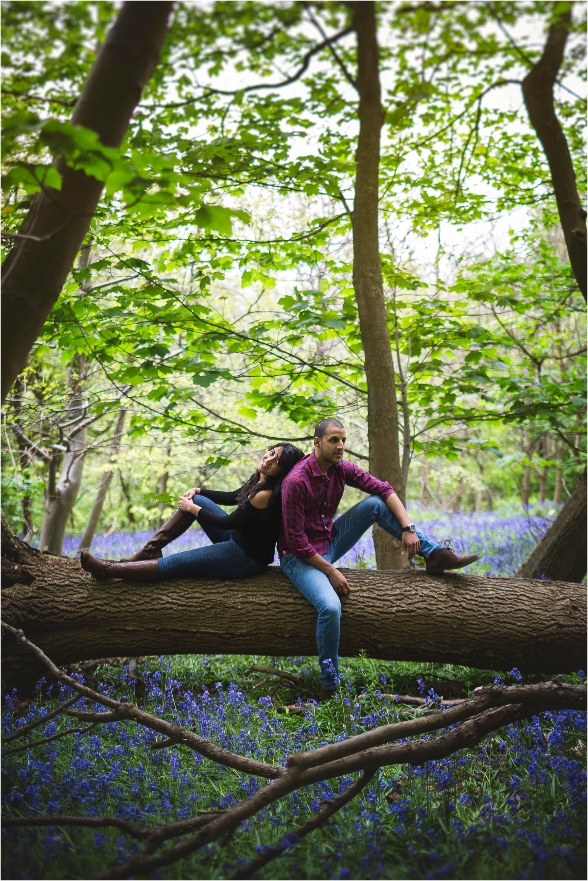 Couple back to back sitting on a fallen down tree.