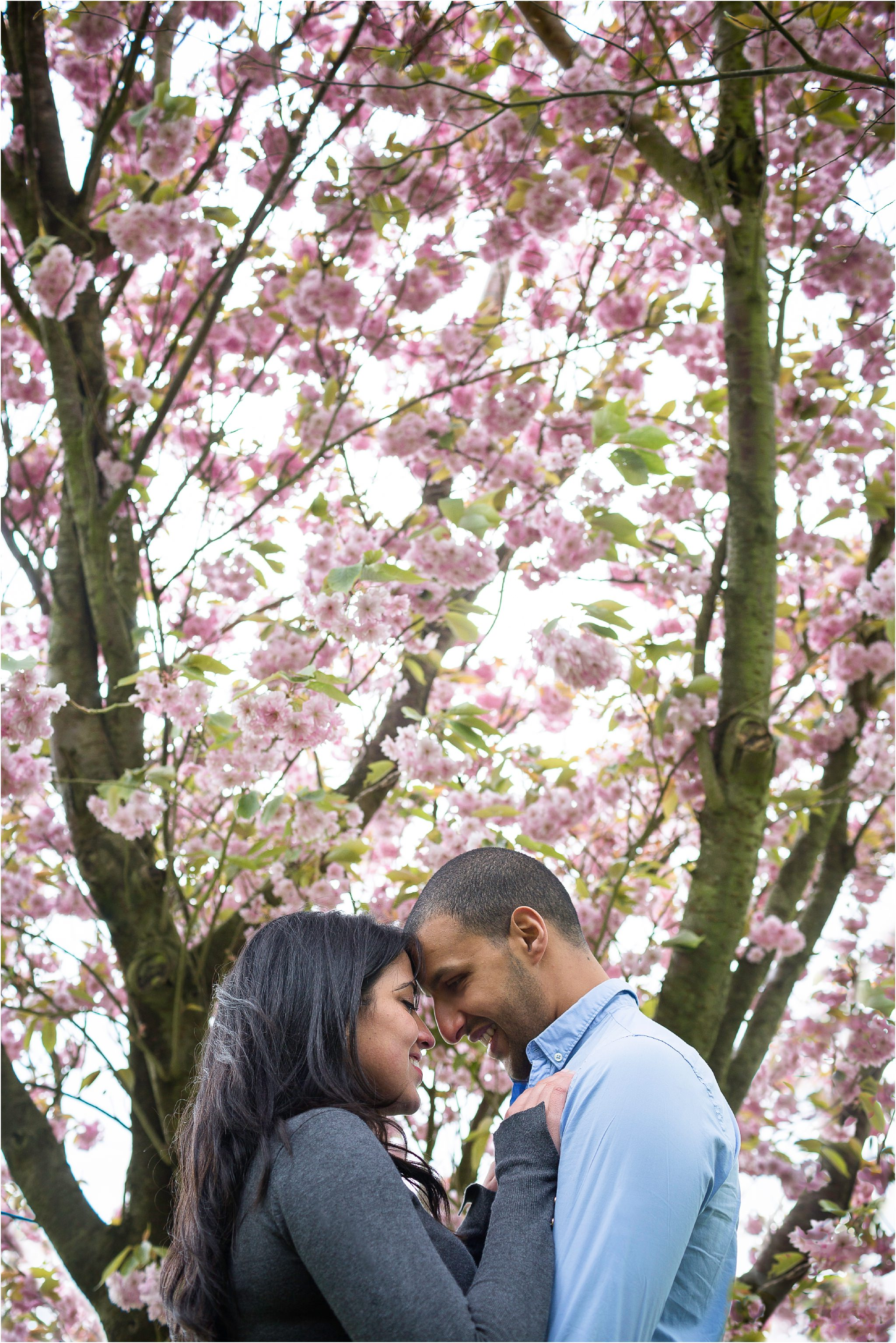 Couple smiling at each other under a cherry blossom tree.
