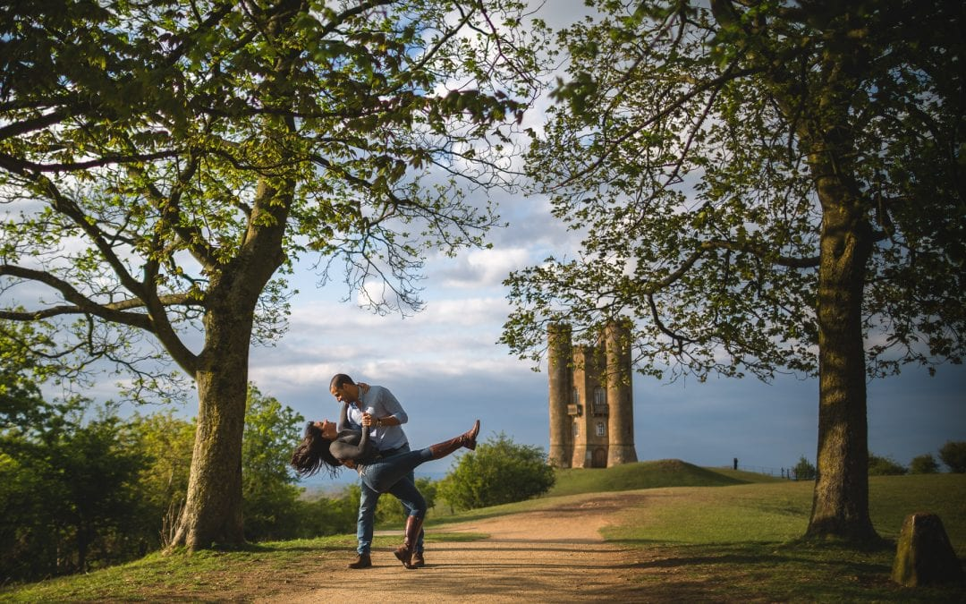 Worcestershire Pre Wedding Shoot at Broadway Tower