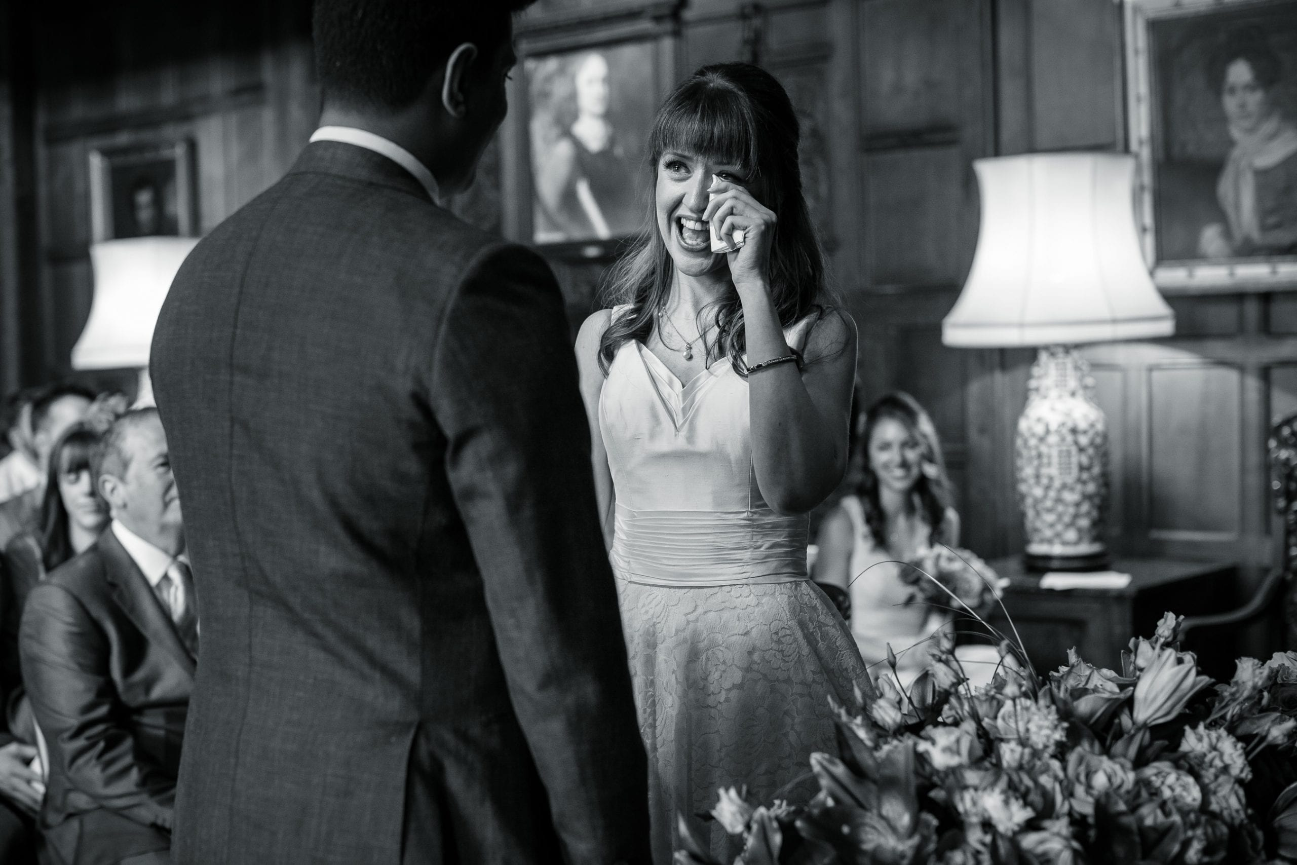 Wedding Photographer Warwickshire, Cotswolds, Birmingham, Midlands - A bride crying whilst saying her vow, a black and white image
