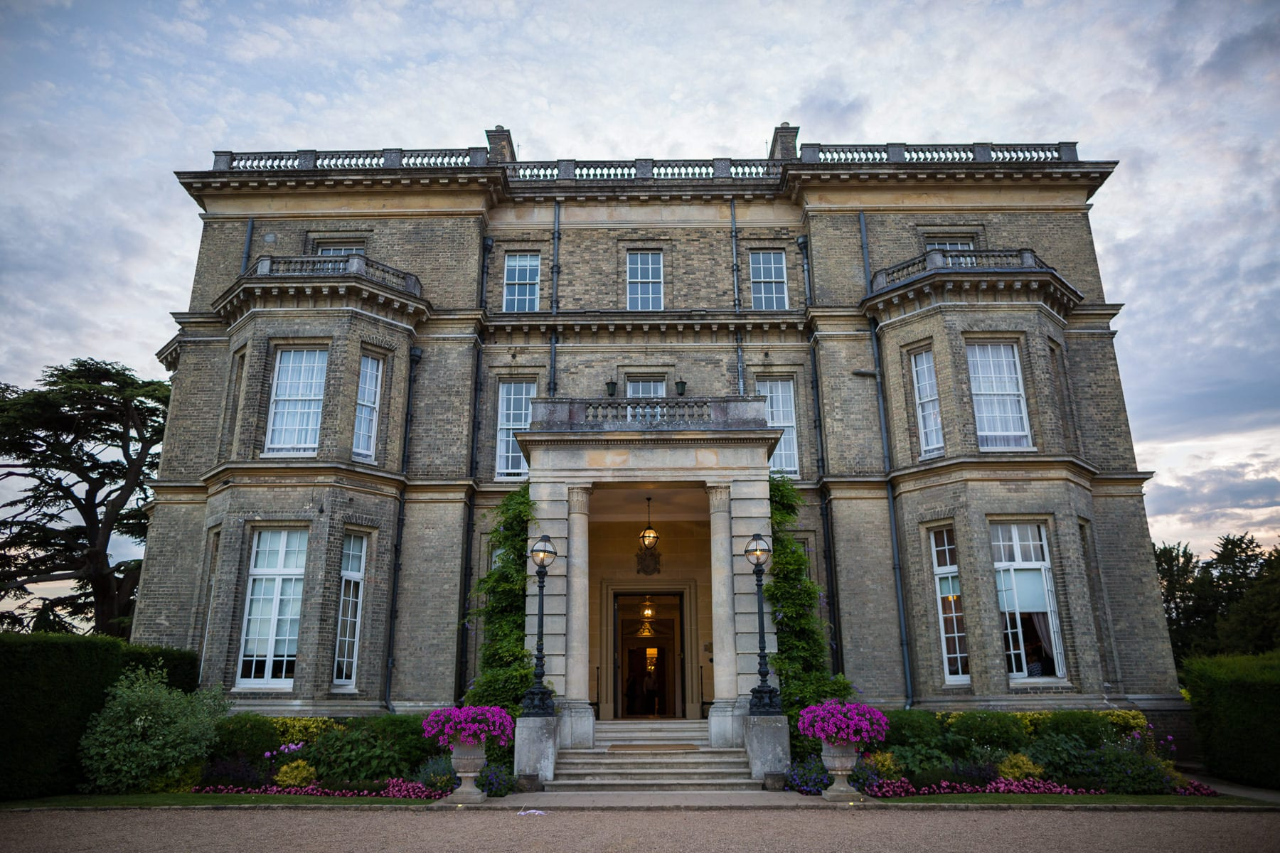Hedsor House wedding venue at dusk