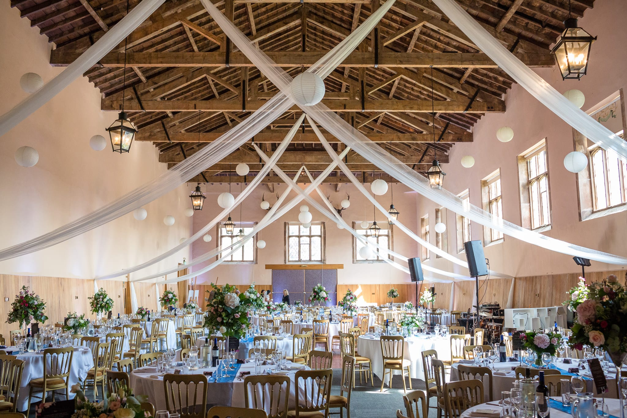 Beautifully decorated Riding School at Stoneleigh Abbey by Stoneleigh Abbey Wedding Photographer, S2 Images