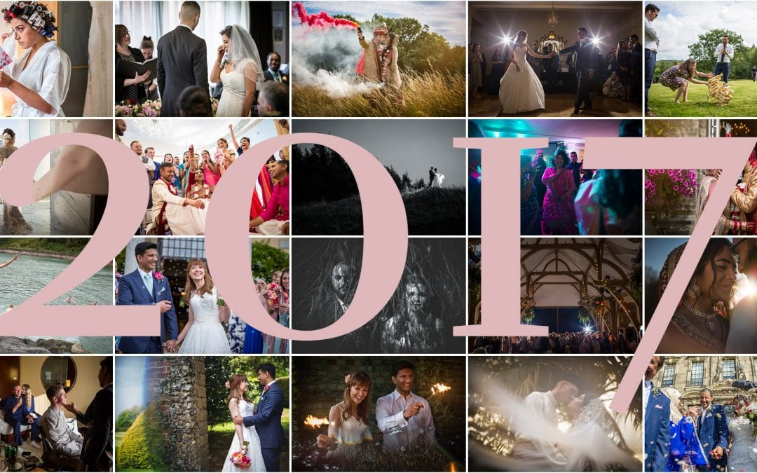 A selection of lots of wedding images by best warwickshire wedding photographer S2 Images, with the numbers 2017 covering the collage.