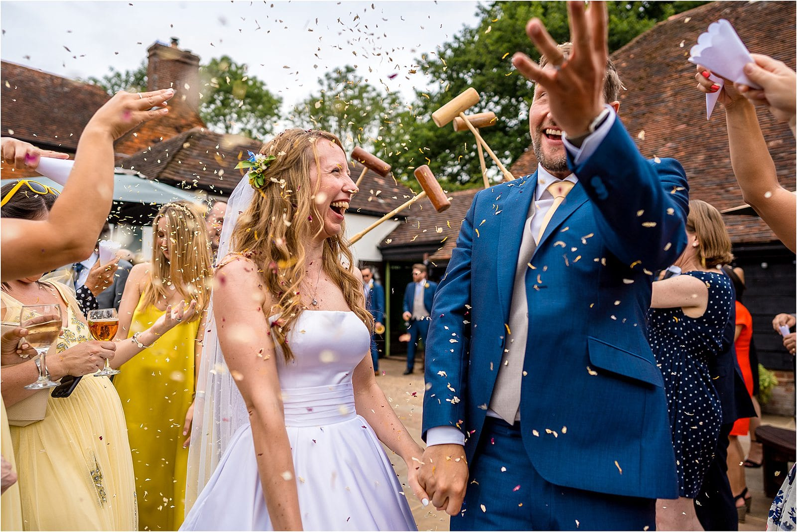 the plough inn at leigh wedding confetti photograph