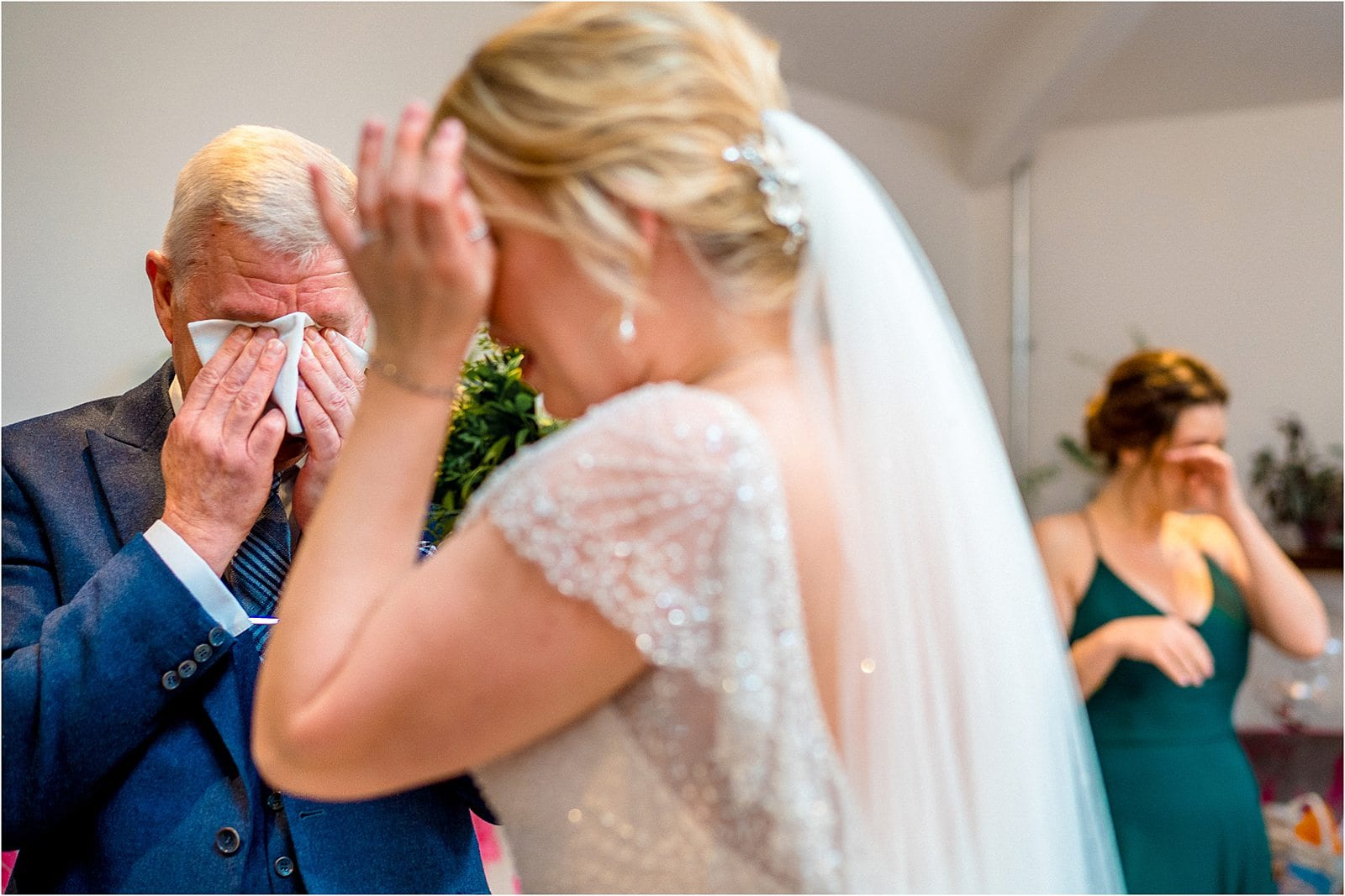 father of the bride crying when he sees his daughter - best wedding photography in warwickshire